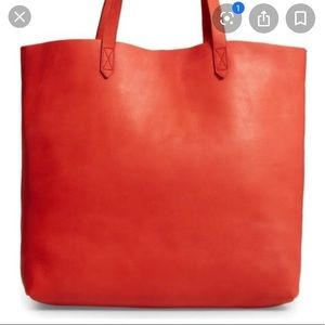 Madewell transport tote in cayenne red orange